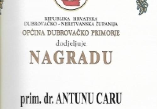 Primarijus Antun Car laureat Godišnje nagrade Općine Dubrovačko primorje