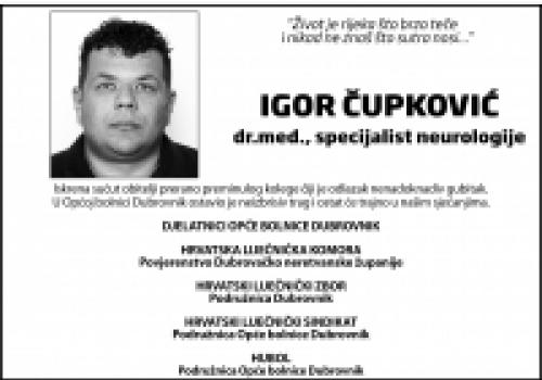 TUŽNA VIJEST Napustio nas je liječnik Igor Čupković dr. med.…