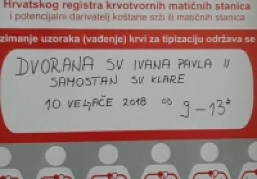 Poziv na akciju upisa u Hrvatski registar dobrovoljnih darivatelja krvotvornih…